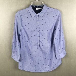 Dalia Half Button Down Top Size Small